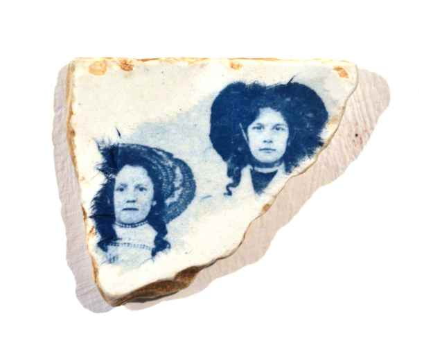 interventions on ceramic here – with delicate blue and white tissue paper - echoing lives past.