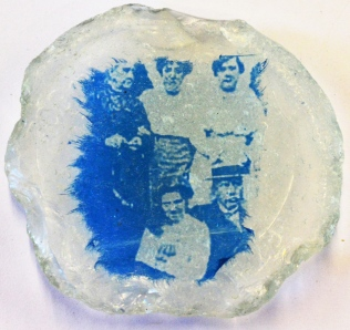 Cyanotype on tissue paper on found seashore glass fragment