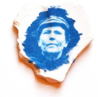 Fisher Woman Collage Cyanotype Ceramic Beach Shard