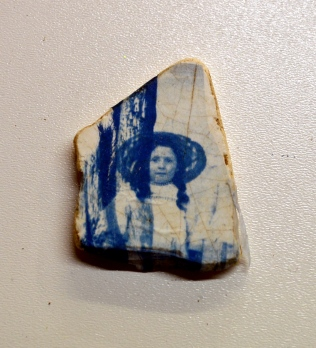 Girl 1 Collage Cyanotype Ceramic Beach Shard