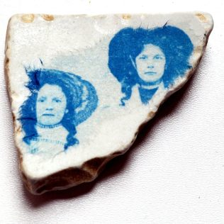 Sisters: Collage Cyanotype Ceramic Beach Shard